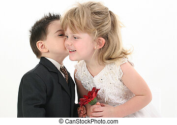 menino, menina, beijo, criança