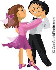menino, menina, caricatura, dançar