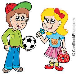 menino, menina, caricatura