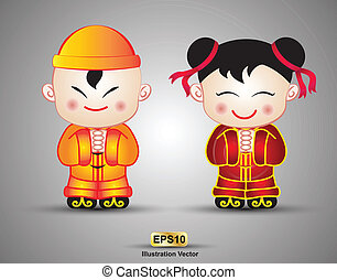 menino, menina, china, boneca