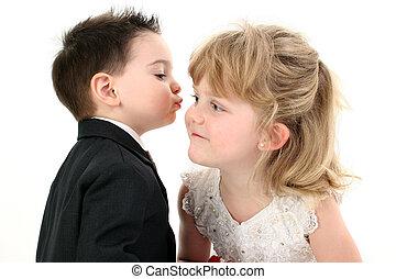 menino, menina, criança, beijo