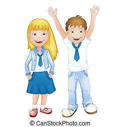 menino, menina escola, uniforme