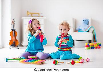 Menino, menina, Flauta, tocando