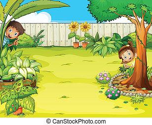 menino, menina, jardim, escondendo