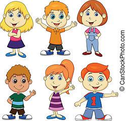 menino, menina, jogo, caricatura