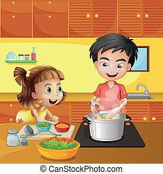 menino, menina, jovem, cozinha