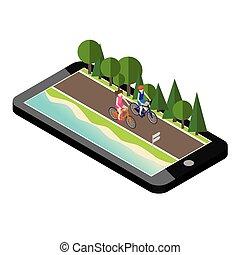 menino menina, ligado, bicycles, estrada, perto, a, praia, e, forest., móvel, geo, tracking., irmão irmã