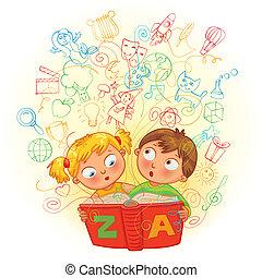 menino, menina, livro, magia, leitura