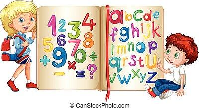 menino, menina, livro, números, alfabetos