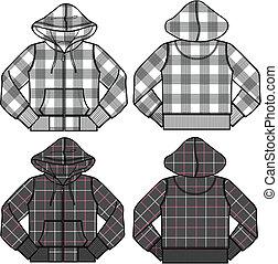 menino, menina, moda, hoodies