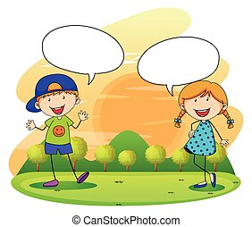 menino, menina, parque, falando