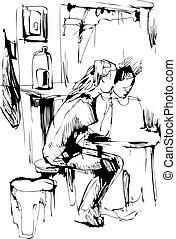 menino, menina, tabela cozinha