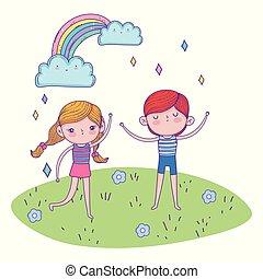 menino, menina, tocando, paisagem, arco íris