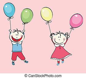 menino, menininha, balões