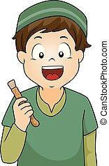 menino, miswak, ilustração, criança