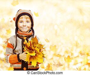 menino, moda, estação, folhas, outono, casaco, outono, criança, roupa, chapéu, criança