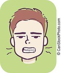 menino, moer, ilustração, dentes, sintoma, criança