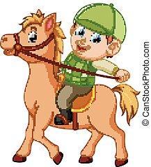 menino, montando, um, pônei, cavalo