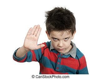 menino, mostrando, parada, com, seu, mão