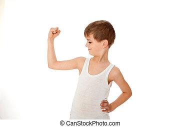 menino, mostrando, seu, músculo