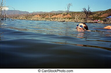 menino, nadar lago