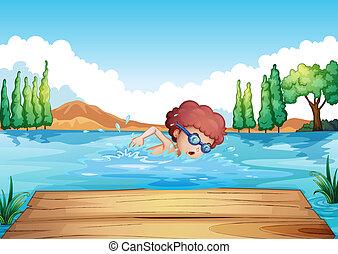 menino, natação, tábua, mergulhar