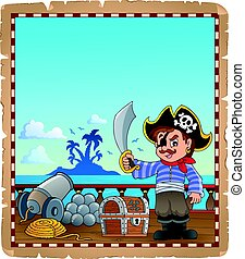 menino, navio, pirata, pergaminho