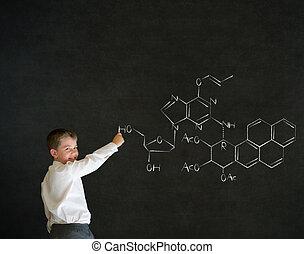 Menino, negócio, ciência, escrita,  fórmula, Química, homem