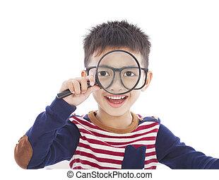 menino, observar, através, segurando, magnifier, adorável