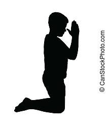 menino, orando, ajoelhando