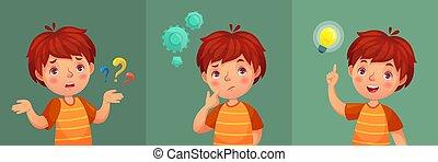 menino, ou, encontrado, pergunta, question., jovem, ilustração, confundido, perguntar, pensativo, vetorial, entenda, criança, resposta, retrato, caricatura, criança