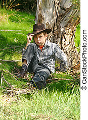 menino, outback, áspero, bushland