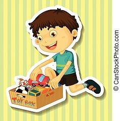 menino, pôr, brinquedos, em, caixa