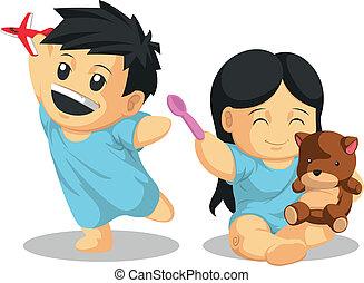 menino, paciente, &, healthil, menina, tocando