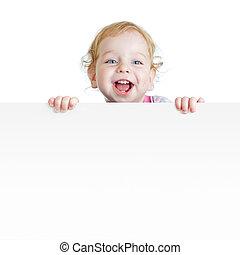 menino, painél publicitário, espaço, mostrando, isolado, em branco, bebê, cópia