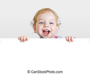 menino, painél publicitário, mostrando, space., em branco, bebê, cópia