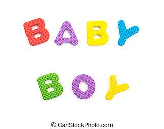 menino, palavra, dado forma, alfabeto, quebra-cabeças, bebê, branca
