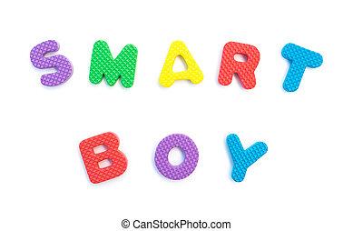 menino, palavra, dado forma, alfabeto, quebra-cabeças, branca, esperto