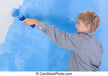 menino, parede pintura, em, seu, sala