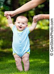 menino, passeio, aprendizagem, ao ar livre, bebê, capim, feliz