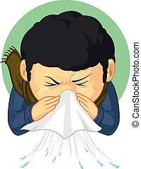 menino, pegado, espirrando, gripe