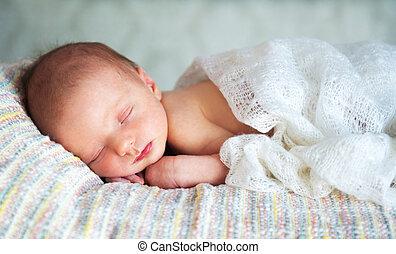 menino, pequeno, 14, dorme, recem nascido, dias, bebê