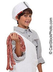 Menino, pequeno, açougueiro, vestido