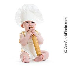 menino, pequeno, alfinete, isolado, rolando, cozinheiro, chapéu