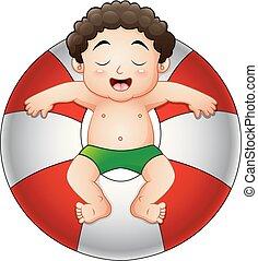 menino, pequeno, anel, inflável, relaxante