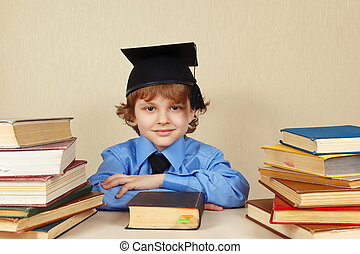 menino, pequeno, antigas, acadêmico, livros, chapéu