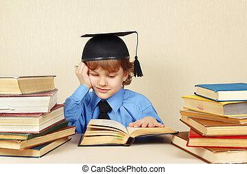 menino, pequeno, antigas, chapéu, acadêmico, livros, estudos