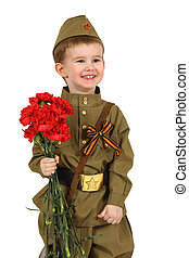 menino, pequeno, antiquado, uniforme, militar, soviético