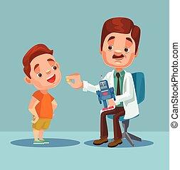 menino, pequeno, apartamento, dar, doutor, personagem, ilustração, patient., vetorial, medicina, caricatura