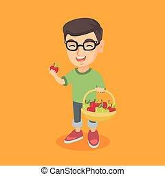 menino, pequeno, apples., segurando, cesta, caucasiano